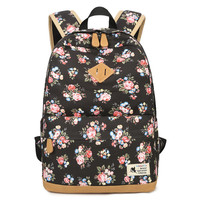 2019 Women Canvas Backpack Designer Female Floral Print Bookbag Backpacks for Teenage Girls School Bag Laptop Travel Rucksacks