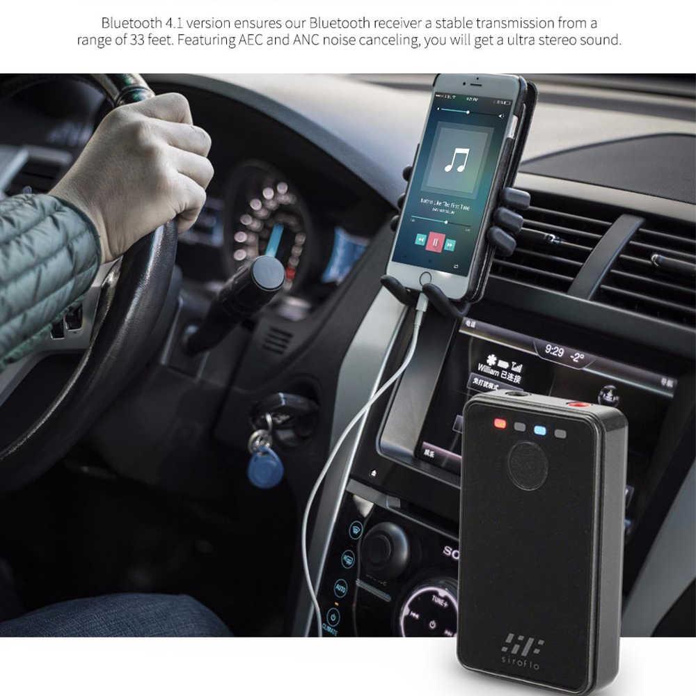 Receptor transmisor Bluetooth Siroflo 2 en 1, adaptador transmisor Bluetooth auxiliar de 3,5mm, cancelación de ruido AEC ANC