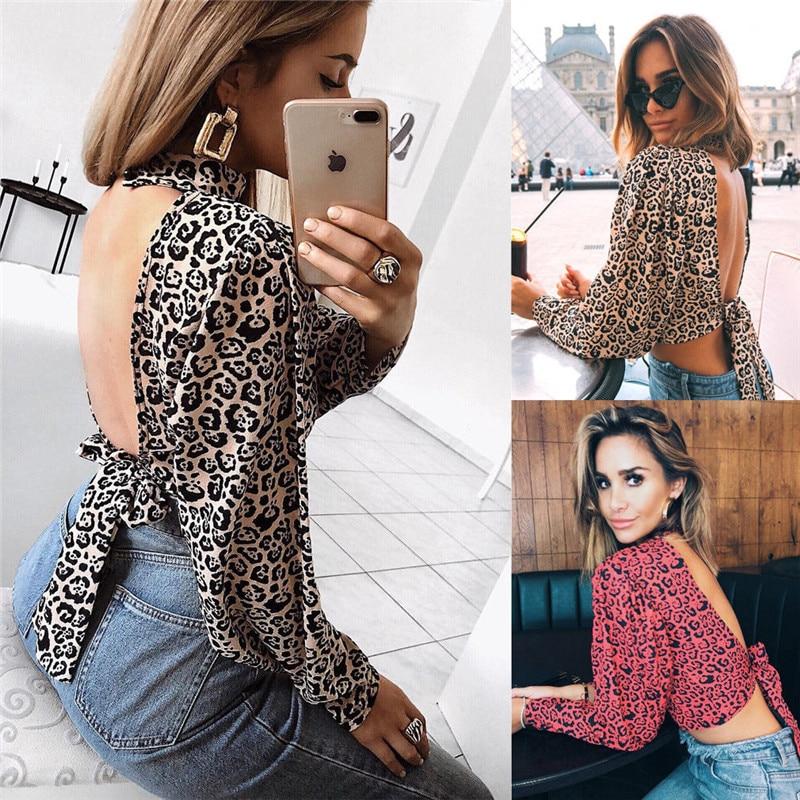 Sexy Woman Lady Backless Shirt Women Casual Sleeveless Fashion Tee Tops Elegant Female Leopard Printing Turtleneck Choker Shirts T-shirts