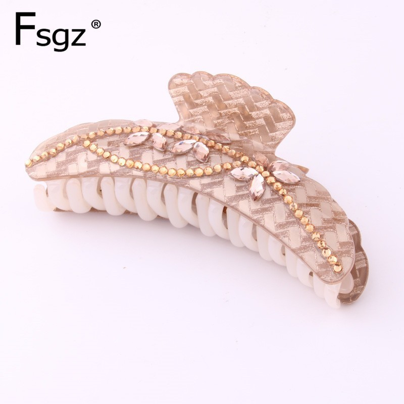 11.5CM Big Hair Claw Clips  For Women Luxury Crystal Classic Flower Vine Type Hiar Clips Ponytail Holders Hair Updo Style Access