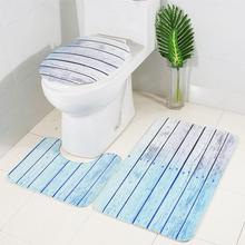 цена на 3Pcs/Set Bath Mats Washable Anti Slip Flannel Ocean Pattern Carpet Washable Bathroom Toilet Floor Lid Cover Shower Mat Set Rug