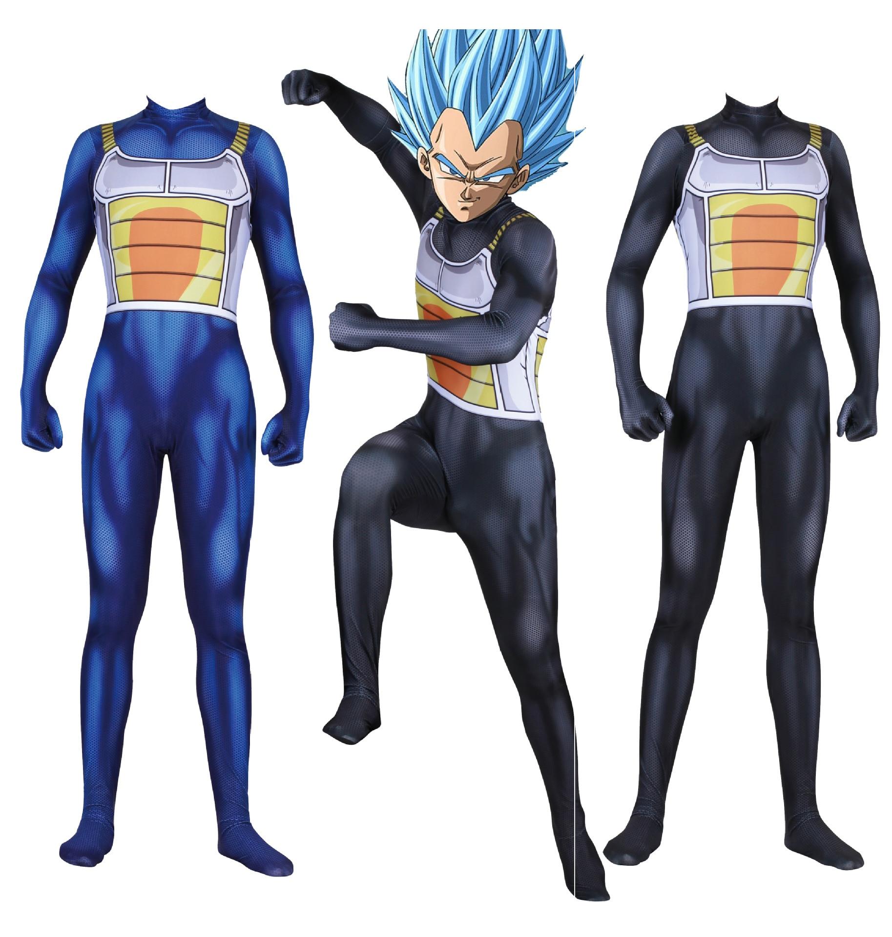 3D impression numérique Dragon Ball z végéta Roleplay Costume Cosplay Zentai combinaison halloween pour homme noir ou bleu