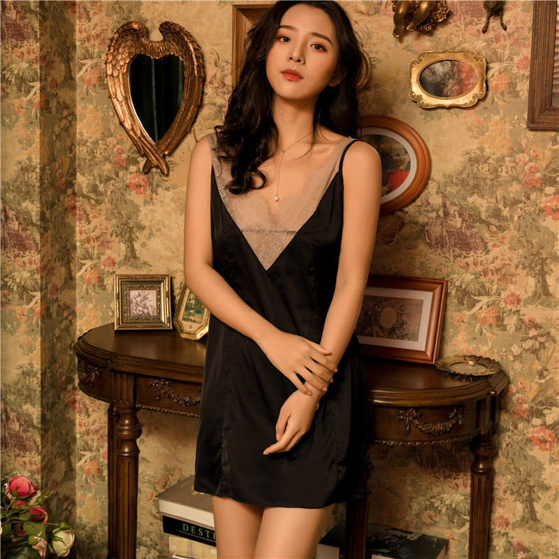 2019 Summer Nightdress Sexy   Sleepshirts   V-neck Lace Satin Silk   Nightgowns   Pijamas Sleeveless Women Nightshirts
