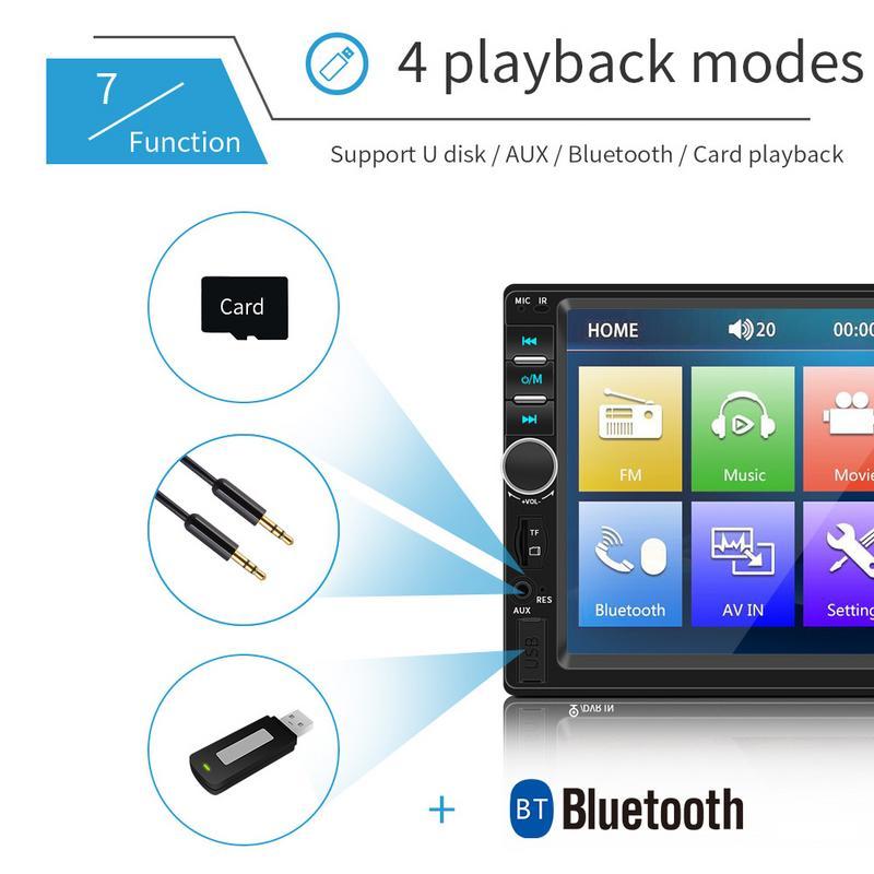 7 pouce Voiture Bluetooth Stéréo Radio De Voiture Double Lingot MP5 Carte Lecteur Peut Être Connecté À La Caméra Double 2 DIN Voiture MP5 MP3 Lecteur