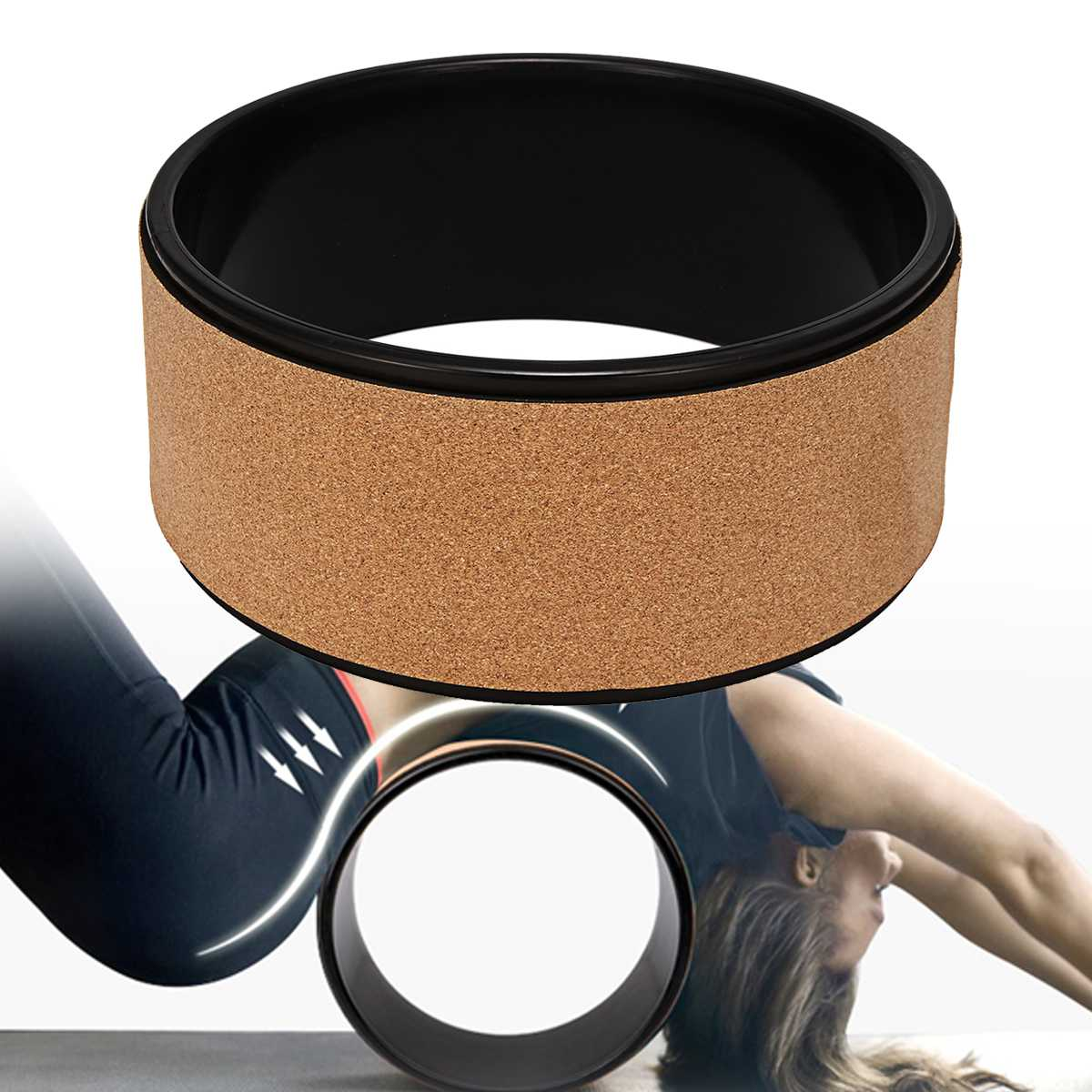 13''Yoga Wheel Premium Natural Roller Circles Cork Backbend Stretch 240KG Weight Bearing Fitness Body Building Yoga Supplies