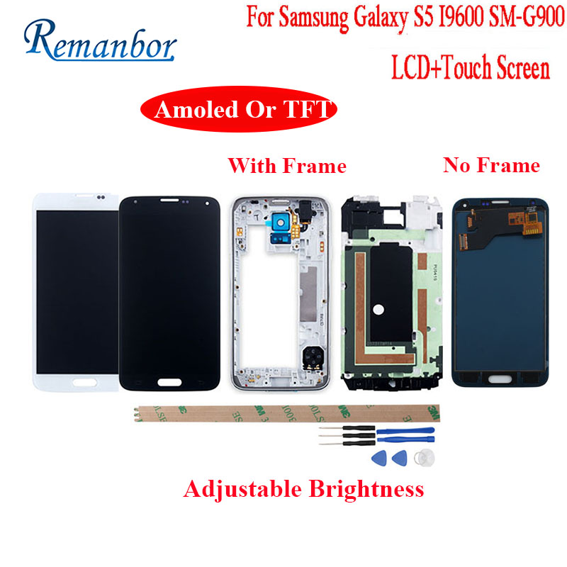 Remanbor For Samsung Galaxy S5 I9600 SM-G900 G900F G900M Amoled LCD Display and Touch Screen With Frame +Tools Adjust BrightnessRemanbor For Samsung Galaxy S5 I9600 SM-G900 G900F G900M Amoled LCD Display and Touch Screen With Frame +Tools Adjust Brightness