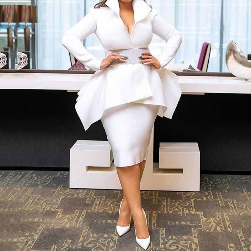 Летние Элегантные вечерние белые женские комплекты из 2 предметов в африканском стиле повседневные пальто большого размера Облегающие юбки женские костюмы с оборками