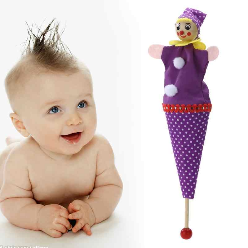 Retractable Smiling Clown Hide & Seek Play Jingle Bell Baby Clown Cartoon Rattle Toys Wooden Educational Toys Children Dolls