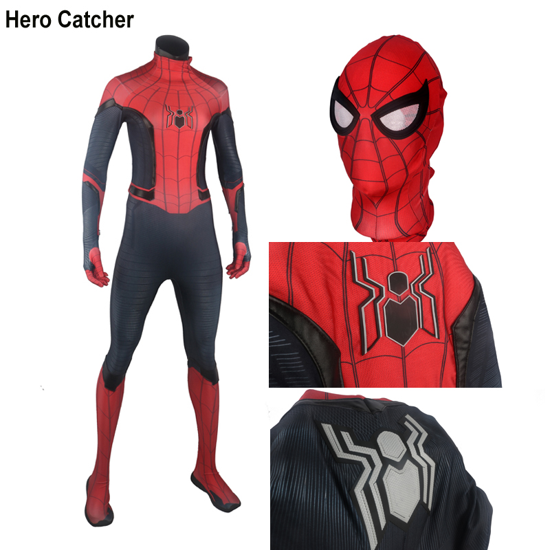 Hero Catcher Top Quality Rubber Logo FFH Spider Man Costume With Details Far From Home Spiderman