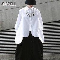 SISPELL Summer Women's Shirt Solid Lapel Petal Sleeve Hem Asymmetrical Casual Loose Short Length 2019 Blouse Female Fashion New