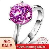 Ювелирные украшения 100% Настоящее серебро 925 пробы кольцо 3ct розовый фианит AAAAA обручение обручальное кольца для женщин Свадебные украшения