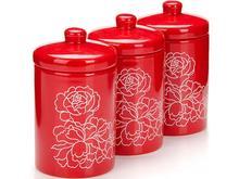 Набор банок для сыпучих продуктов LORAINE, Красный Узор, 0,4 л, красные крышки