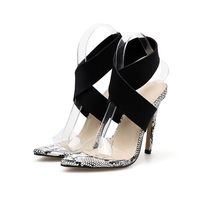 Ankle Strap Cross Tied Women Summer Sandals High Heels Sexy Snakeskin Grain Lace Up Sandals High Quality Shoes Plus Size