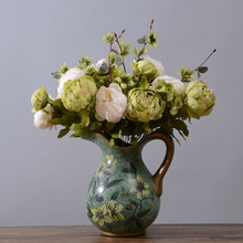 fake Peony flores bouquet - 18.5 in. tall ,6pcs flower 13 heads Simulation Wedding artificial flowers home decor