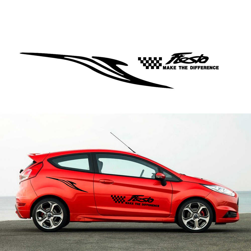 Car side body decal sticker for ford fiesta pickup truck decals diy car decoration name stickers