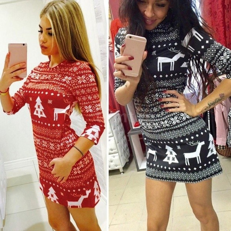 Christmas Women Dress Autumn Winter Mini Dress Christmas Print Santa Reindeer Tree Snowflake Casual Xmas Red Black S-XXL