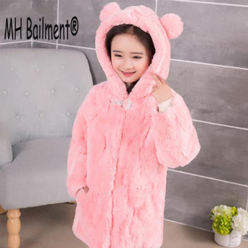 New Real Children Rabbit Coat Winter Warm Girls Natural Fur Coats Lovely Thick Long Jackets Outerwear Solid Clothing C#32 цена