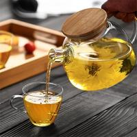 Home Kitchen Supplies Heat resistant Glass Teapot With Bamboo Cover Filter Liner Kettle Flower Teapot Drinkware