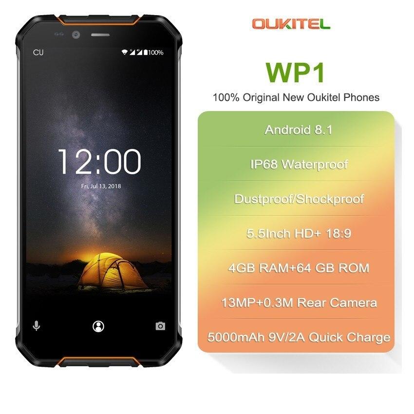 OUKITEL WP1 IP68 téléphone étanche 5.5 ''+ 18:9 MTK6763 Octa Core 4 GB RAM 64 GB ROM Android 8.1 5000 mAh téléphone portable de charge sans fil