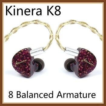 Kinera Odin K8 In Ear Earphones Hifi Music Monitor 8 Unit Balanced Armature 8BA Earphones Ear Hook Noise-Cancellation Earbuds
