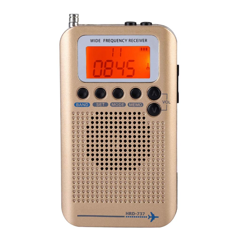 CHATS Avions Portable Radio Récepteur, pleine Bande Radio Récepteur-AIR/FM/AM/CB/SW/VHF, écran LCD Avec Rétro-Éclairage, Puce A Un Pow