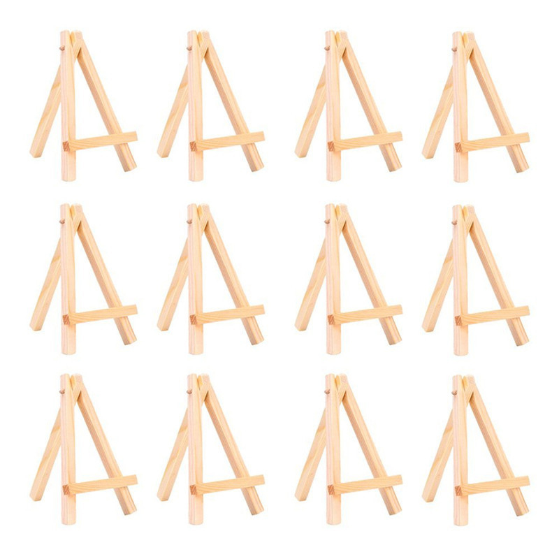 12pcs Tiny Mini Wood Table Easels Set For Paintings Craft Small Acrylics Oil Projects Desktop Display Stand 3 Inch X 5 Inch