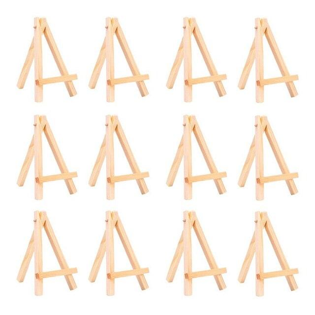 Juego de caballetes de mesa de madera Mini de 12 piezas para pinturas artesanales pequeños proyectos de aceite de acrílico soporte de pantalla de escritorio de 3 pulgadas x 5 pulgadas