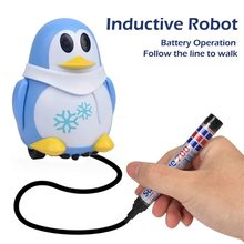 777-630 Electric Robot Toys Inductive Car Line Follower Diecast Toy Magic Pen Toy Cartoon Robot penguin Follow Any Line You Draw(China)