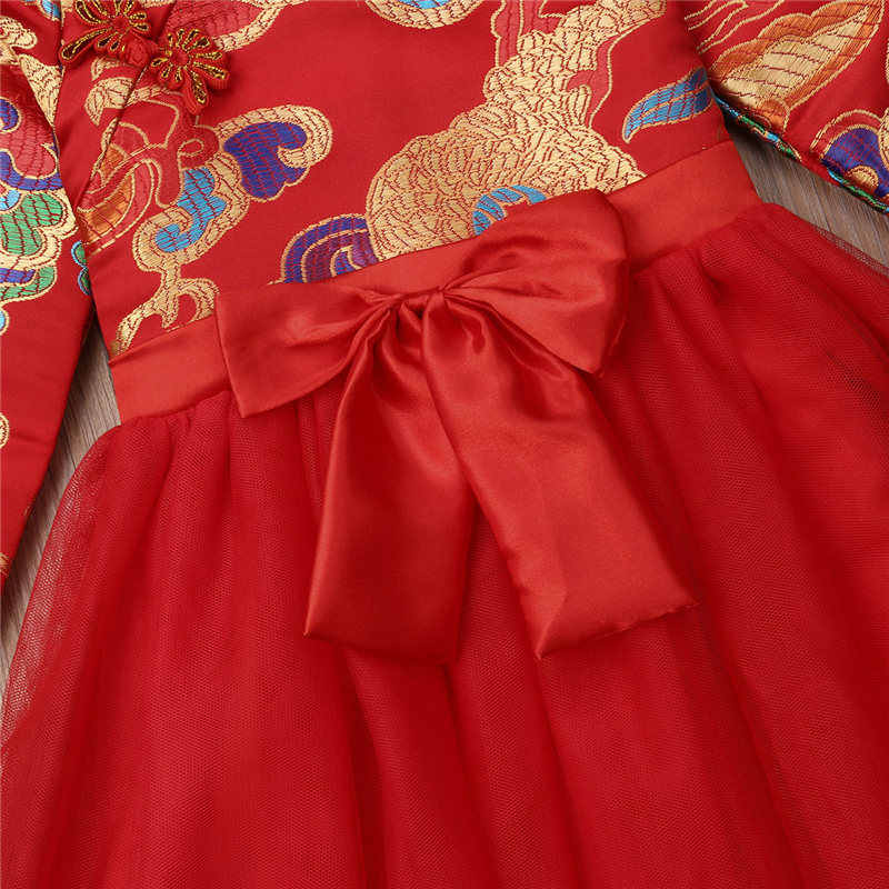 59f623c20a474 2019 Baby Girl Dress Chinese New Year Outfit Traditional Girl MIdi Tulle  Dress Red Embroidery Chinese Gown Children Clothes