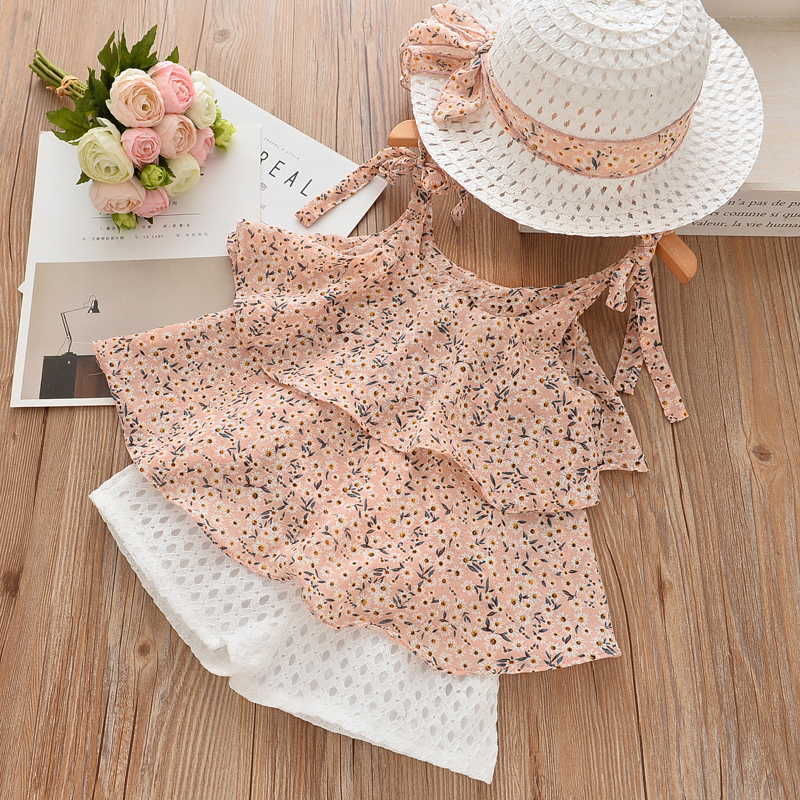 Children Summer Clothes Sets 2018 New Style Girls Sleeveless Sling Floral Chiffon Clothes Suits And Straw Hat 3pcs Baby ClothesChildren Summer Clothes Sets 2018 New Style Girls Sleeveless Sling Floral Chiffon Clothes Suits And Straw Hat 3pcs Baby Clothes