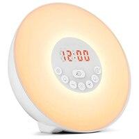 Acordar Despertador Luz Do Nascer Do Sol/Sunset Simulação Digital Clock 7 Cores Sons Luz Snooze Função de Controle de Toque FM d20