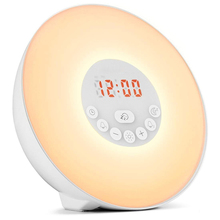 Wake Up Light Alarm Clock Sunrise/Sunset Simulation Digital 7Colors Sounds Snooze Function Touch Control FM D20