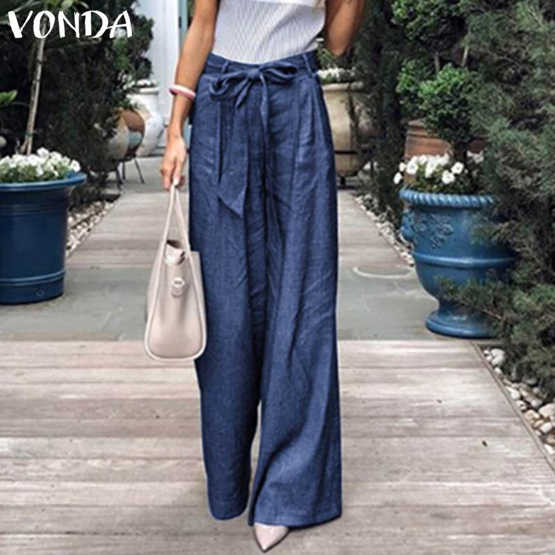 Casual Summer Trousers Women Plus Size VONDA Denim   Wide     Leg     Pants   Jeans Elastic High Waist   Pants   Female Clothing Loose Trouser