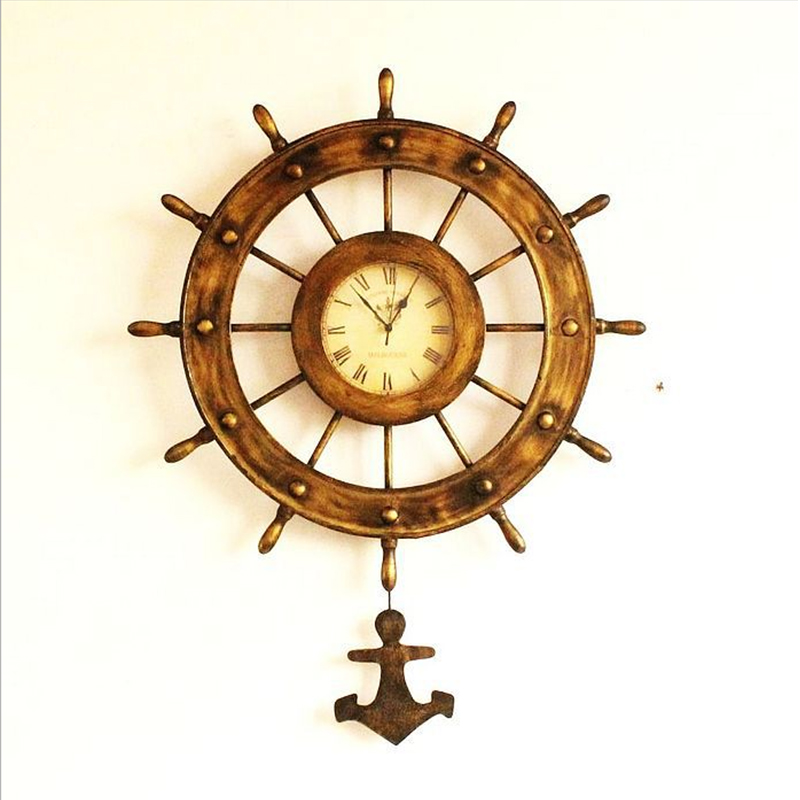 European style bronze antique old rudder clock home accessories retro