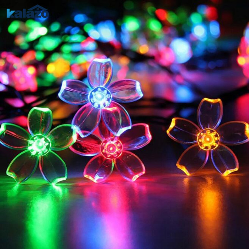 1pc Outdoor Solar String Christmas Lights Waterproof Flower Garden Blossom Lighting Wedding Birthday Party Home Decoration