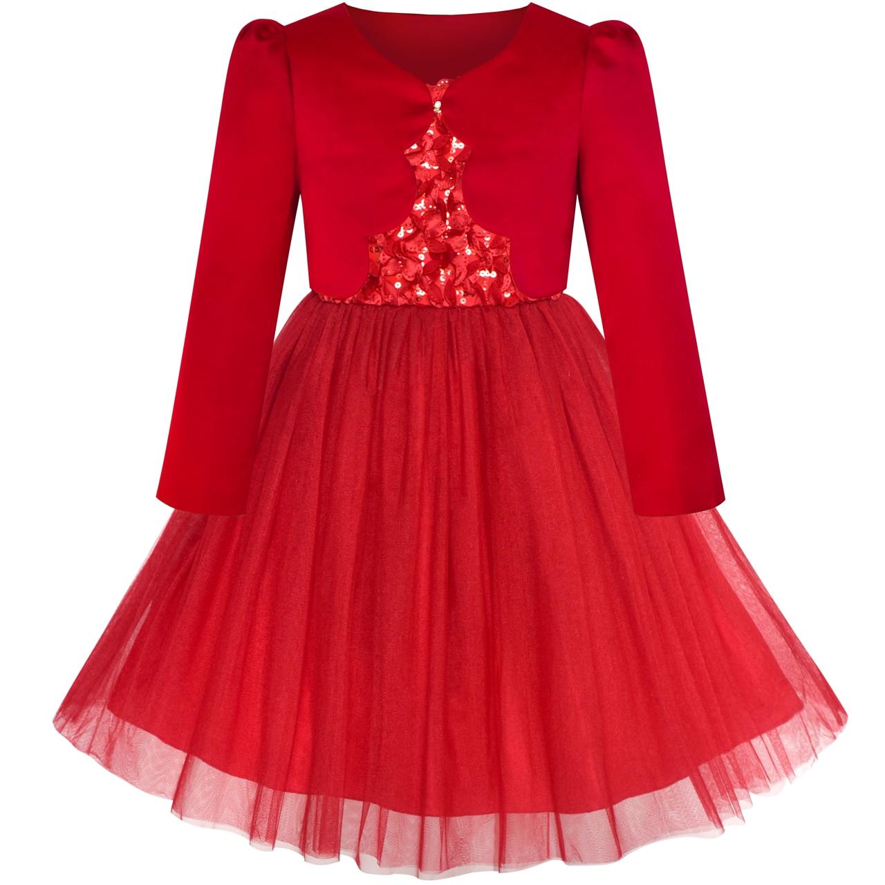 Flower     Girls     Dress   Red Long Sleeve Shrug Bolero 2019 Summer Princess Wedding Party   Dresses     Girl   Clothes Pageant Sundress