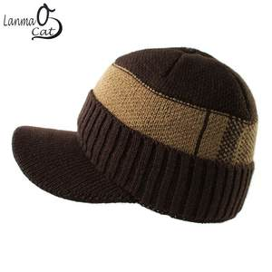 ad239a50db9 Lanmaocat Men s Caps Autumn Winter Knit Hat With Straight Visor Warm Hat  For Men Women Khitting Fashion Visor Caps Free Shipping