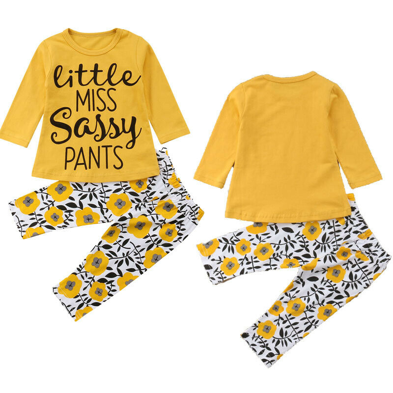 Little miss Toddler Kids Baby Girls Tops T-shirt Pants Leggings Outfits Clothes
