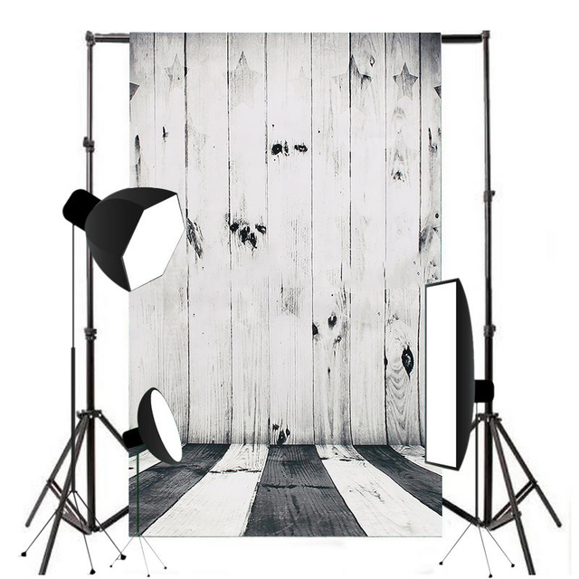 Pohiks 90x60cm Mini Black White Backdrop Raw Silk Cloth Wood Floor Photography Background For Photo Studio Prop