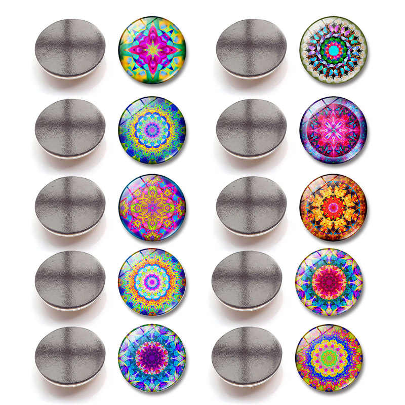 Popular 1PC Glass Flower High Quality Message Holder Mandala 2.5cm Hot Sale Fridge Magnet Refrigerator Sticker Home Decoration
