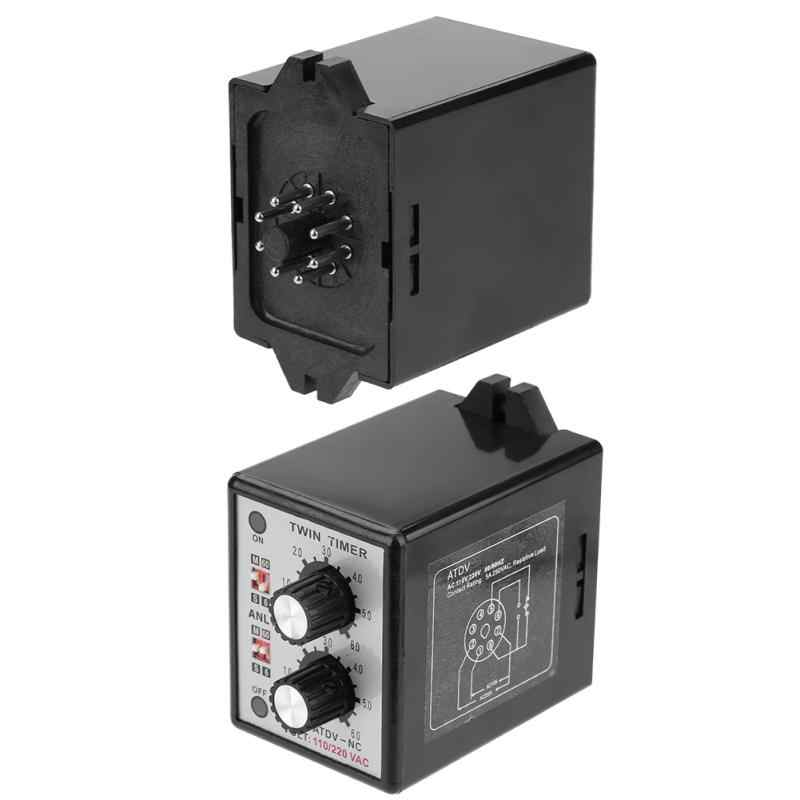 Relais de commutateur de temps de commande de bouton de relais de minuterie jumelle 6 S-60 M ca 220V relais de minuterie jumelle grande Promotion