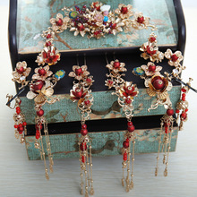 new style Chinese crown long tassel hair sticks red pearls tiara costume wedding bride's headdress