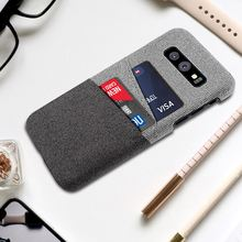 For Samsung Galaxy S10 S10E S10 Plus Case Card Holder Vintage Woven Fabric Cloth Hard PC Back Cover For Samsung S10 Plus Case for samsung galaxy s10 plus s10e case fabric cloth silicone tpu bumper hard pc back cover for s10 plus note 10 plus note10