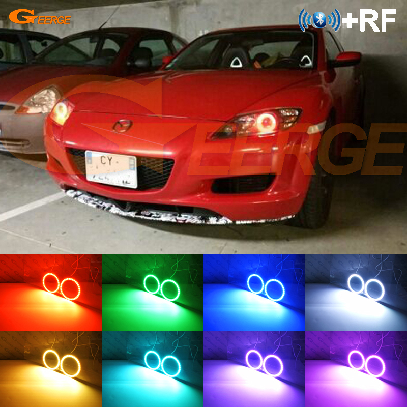 Untuk Mazda RX8 Rx-8 2004 2005 2006 2007 2008 RF Bluetooth Controller Multi-warna Ultra terang RGB LED Angel Eyes Halo Ring kit