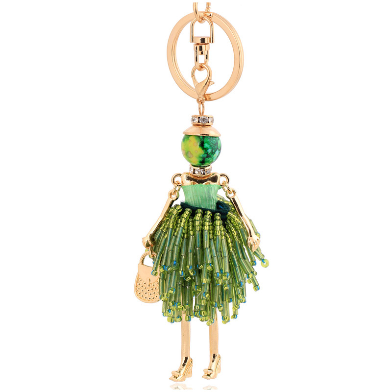 new arrival green crystal keychain for women tassel key ring chain bag charm pendant charm gift fashion jewelry keyring