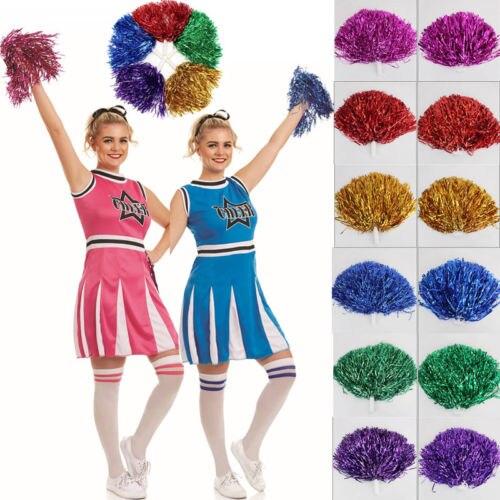2 Pairs Pompoms Pom Poms Cheerleader Dance Wear Hen Party Fancy Dress Accessory