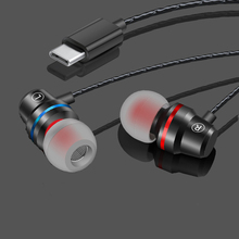 Handsfree Bass Type C Earphone Portable Wired Control USB-C Headset With Microphone Sport Stereo Music Earbud For Type-c Phones