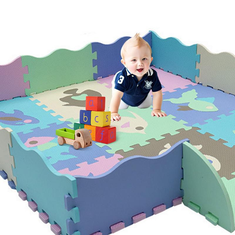Cartoon Animal Pattern Carpet EVA Foam Puzzle Mats Kids Floor Puzzles Play Mat For Child Baby Play Gym Crawling Mat With Fence