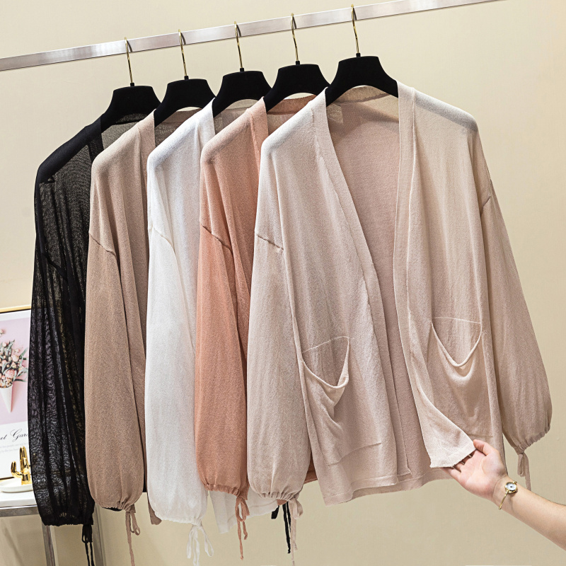 Lazy Wind Women Knitted Cardigan Spring Summer Korean Casual Drawstring Pockets Design Puff Sleeve Sun-Proof Cardigan Feminino