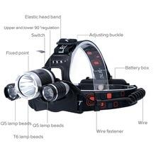 T6 Headlamp 3 Led Headlight Waterproof Head Torch Flashlight Lamp Fishing Hunting Camping18650 Battery Light